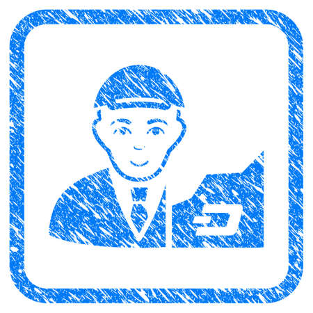 Dash Trader rubber stamp watermark. Icon vector symbol with textured design and corrosion texture in rounded square frame. Scratched blue emblem. Male face has joy mood.