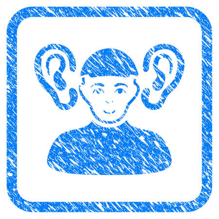 Listener Guy rubber stamp watermark. Icon vector symbol with scratched design and unclean texture in rounded square frame. Scratched blue sticker. Male face has enjoy mood.