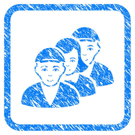People Queue rubber seal watermark. Icon vector symbol with scratched design and dirty texture inside rounded square. Scratched blue emblem. Guy face has joyful sentiment. Stock Illustratie