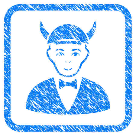 Devil rubber seal imitation. Icon vector symbol with distress design and corrosion texture inside rounded square frame. Scratched blue emblem. Boy face has joyful expression.