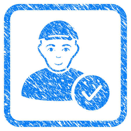 User Valid rubber seal stamp imitation. Icon vector symbol with scratched design and dust texture inside rounded square. Scratched blue emblem. Male face has cheerful mood. Vectores