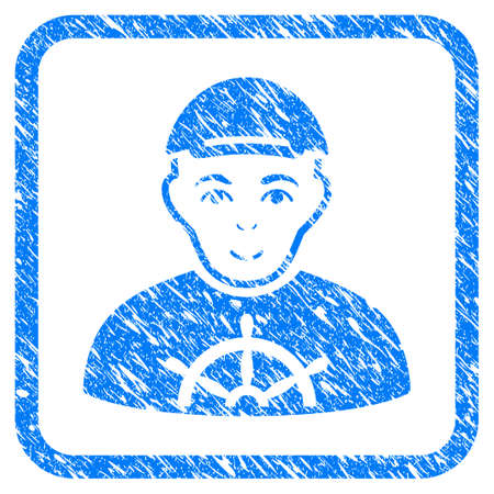Captain rubber stamp watermark. Icon vector symbol with scratched design and corrosion texture in rounded frame. Scratched blue emblem. Male face has joy mood. a man from captain dressed with a cap.