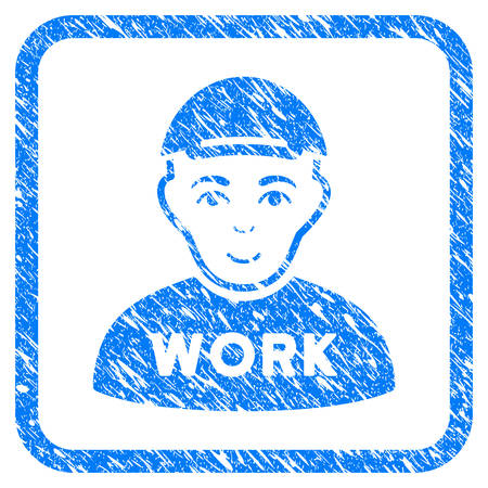 Jobless rubber seal watermark. Icon vector symbol with grungy design and corrosion texture in rounded rectangle. Scratched blue emblem. Dude face has cheerful sentiment.