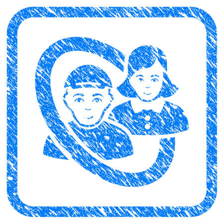 Ringed People Pair rubber stamp imitation. Icon vector symbol with grunge design and unclean texture inside rounded frame. Scratched blue emblem. Male face has happiness feeling.