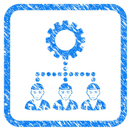 Gear Hierarchy Workers rubber seal imitation. Icon vector symbol with unclean design and corrosion texture in rounded frame. Scratched blue sticker. Guy face has positive emotions.