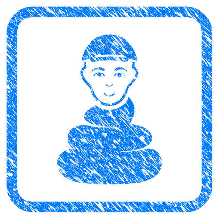 Shit Boy rubber seal stamp imitation. Icon vector symbol with textured design and dust texture inside rounded square frame. Scratched blue sticker. Dude face has gladness emotions.