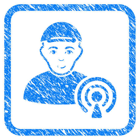 Podcast Creator rubber seal imitation. Icon vector symbol with grunge design and dust texture inside rounded frame. Scratched blue stamp imitation. Person face has enjoy expression. Vectores