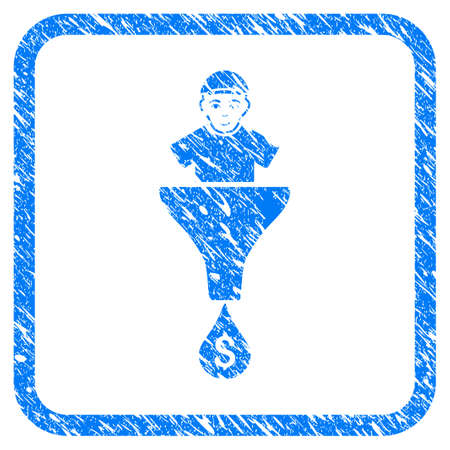 Client Sales Funnel rubber stamp imitation. Icon vector symbol with grungy design and corrosion texture inside rounded square frame. Scratched blue sticker. Male face has joyful mood. Illustration