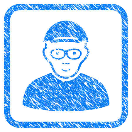 Geek rubber seal stamp watermark. Icon vector symbol with textured design and corrosion texture in rounded rectangle. Scratched blue sign. Boy face has joy feeling. a man from geek wearing a cap.