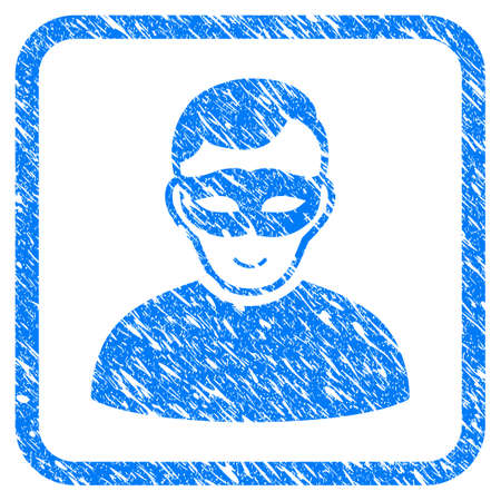Anonymous Person rubber seal stamp imitation. Icon vector symbol with grunge design and corrosion texture inside rounded square frame. Scratched blue sign on a white background.