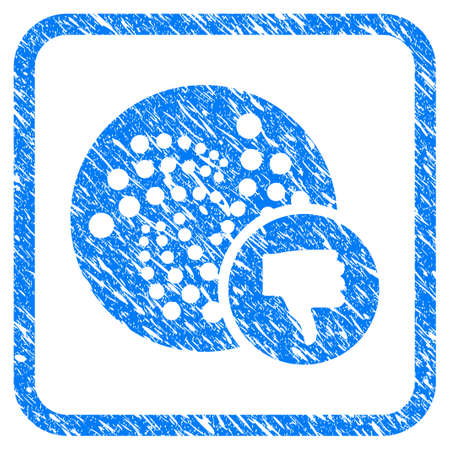 Iota Thumb Down rubber seal stamp watermark. Icon vector symbol with grunge design and corrosion texture inside rounded squared frame. Scratched blue emblem on a white background.