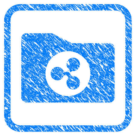 Ripple Purse rubber seal stamp watermark. Icon vector symbol with grunge design and unclean texture inside rounded squared frame. Scratched blue sign on a white background.