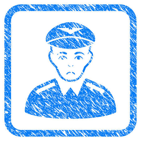 Aviator rubber seal stamp watermark. Icon vector symbol with grunge design and corrosion texture in rounded rectangle. Scratched blue stamp imitation on a white background. Ilustração