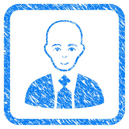 Bald Boss rubber seal stamp watermark. Icon vector symbol with grunge design and corrosion texture in rounded rectangle. Scratched blue sticker on a white background.
