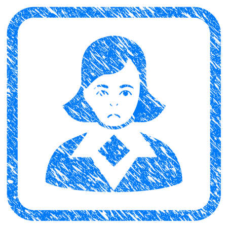 Woman rubber seal stamp watermark. Icon vector symbol with grunge design and unclean texture in rounded square. Scratched blue stamp imitation on a white background.