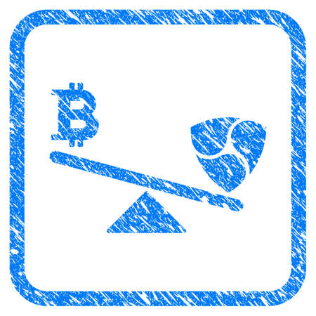 Bitcoin Nem Balance Swings rubber seal stamp watermark. Icon vector symbol with grunge design and dust texture in rounded square. Scratched blue stamp imitation on a white background.