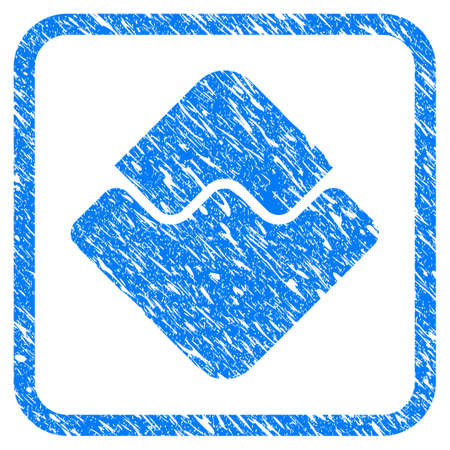 Waves Currency rubber seal stamp imitation. Icon vector symbol with grunge design and corrosion texture in rounded frame. Scratched blue sticker on a white background.