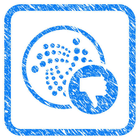 Iota Thumb Down rubber seal stamp watermark. Icon vector symbol with grunge design and dust texture in rounded square frame. Scratched blue emblem on a white background.