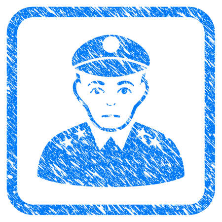Army General rubber seal stamp imitation. Icon vector symbol with grunge design and dust texture inside rounded frame. Scratched blue sign on a white background. Vettoriali