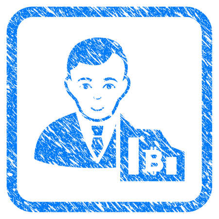 Bitcoin Trader rubber seal stamp imitation. Icon vector symbol with grunge design and corrosion texture inside rounded square frame. Scratched blue sign on a white background. Vectores