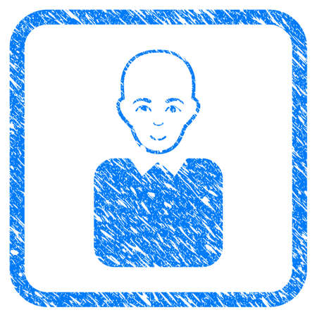 Bald Bureaucrat rubber seal stamp watermark. Icon vector symbol with grunge design and corrosion texture in rounded rectangle. Scratched blue sticker on a white background.