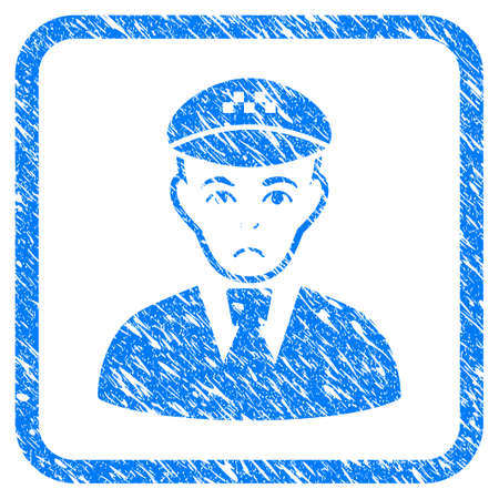 Taxi Driver rubber seal stamp watermark. Icon vector symbol with grunge design and corrosion texture inside rounded frame. Scratched blue emblem on a white background.