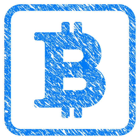 Bitcoin Symbol rubber seal stamp imitation. Icon vector symbol with grunge design and dust texture inside rounded square. Scratched blue sticker on a white background.