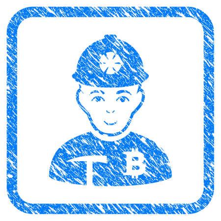 Imitación de sello de sello de goma de Bitcoin Miner. Símbolo de vector icono con diseño grunge y textura sucia dentro de marco cuadrado redondeado. Rayado emblema azul sobre un fondo blanco. Foto de archivo - 94793013