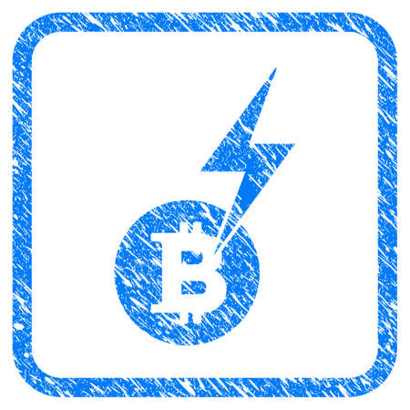 Bitcoin Lightning Strike rubber seal stamp imitation. Icon vector symbol with grunge design and dirty texture inside rounded square frame. Scratched blue sign on a white background. Illustration