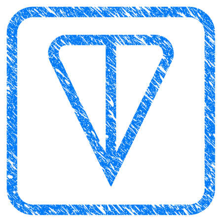 Ton Currency rubber seal stamp watermark. Icon vector symbol with grunge design and dust texture in rounded rectangle. Scratched blue stamp imitation on a white background.