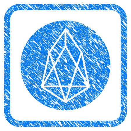 Eos Currency rubber seal stamp watermark. Icon vector symbol with grunge design and corrosion texture inside rounded square frame. Scratched blue stamp imitation on a white background.