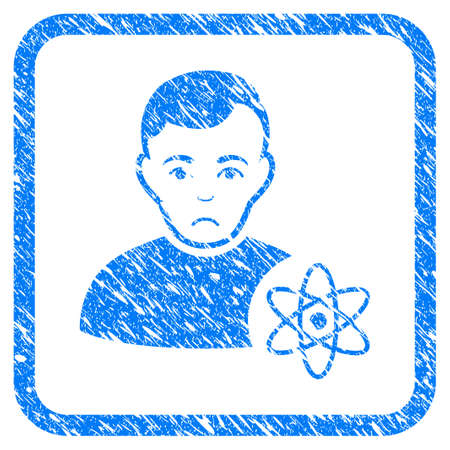 Atomic Scientist rubber seal stamp watermark. Icon vector symbol with grunge design and unclean texture inside rounded squared frame. Scratched blue sign on a white background.