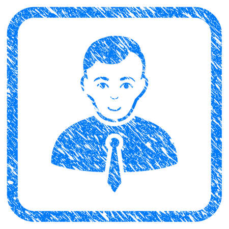 Businessman rubber seal stamp watermark. Icon vector symbol with grunge design and dust texture in rounded squared frame. Scratched blue stamp imitation on a white background.