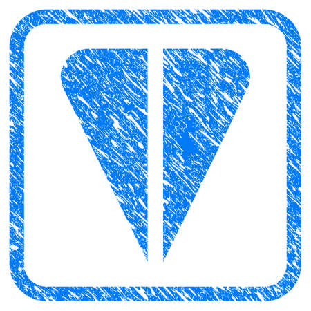 Ton Currency rubber seal stamp imitation. Icon vector symbol with grunge design and unclean texture in rounded squared frame. Scratched blue stamp imitation on a white background.