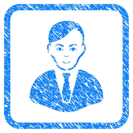 Businessman rubber seal stamp watermark. Icon vector symbol with grunge design and dirty texture inside rounded square. Scratched blue emblem on a white background. Illustration