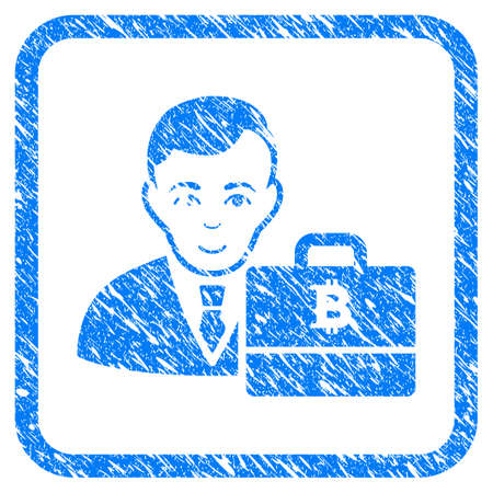 Bitcoin Accounter rubber seal stamp imitation. Icon vector symbol with grunge design and unclean texture in rounded frame. Scratched blue sign on a white background.