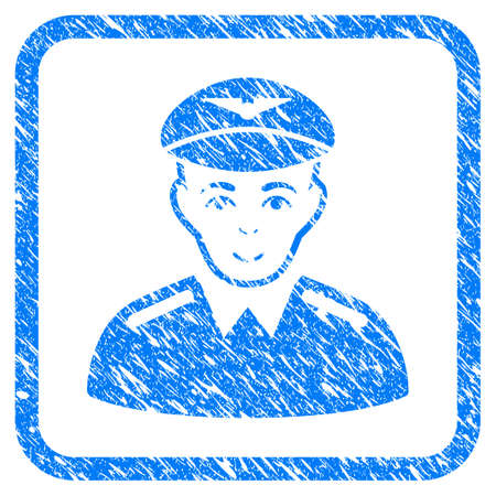Aviator rubber seal stamp imitation. Icon vector symbol with grunge design and dirty texture inside rounded square frame. Scratched blue sign on a white background. Ilustração