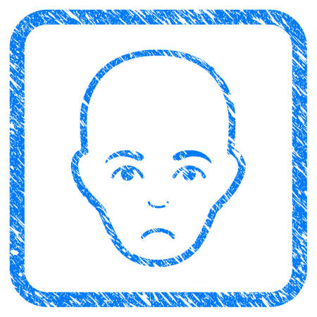 Bald Head rubber seal stamp imitation. Icon vector symbol with grunge design and dust texture in rounded frame. Scratched blue stamp imitation on a white background.