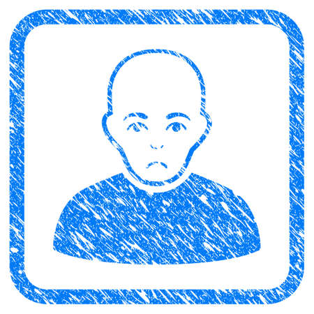 Bald Man rubber seal stamp watermark. Icon vector symbol with grunge design and dirty texture in rounded square. Scratched blue sticker on a white background. Illustration