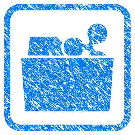 Ripple Folder rubber seal stamp imitation. Icon vector symbol with grunge design and unclean texture inside rounded squared frame. Scratched blue sign on a white background.