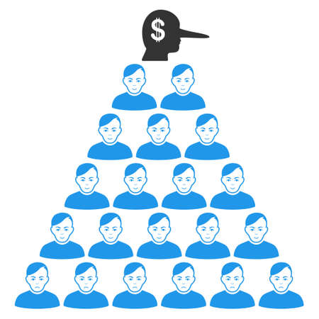 Ponzi Pyramid Manager vector flat pictogram. Person face has joy sentiment. Faced ponzi pyramid manager. Illustration