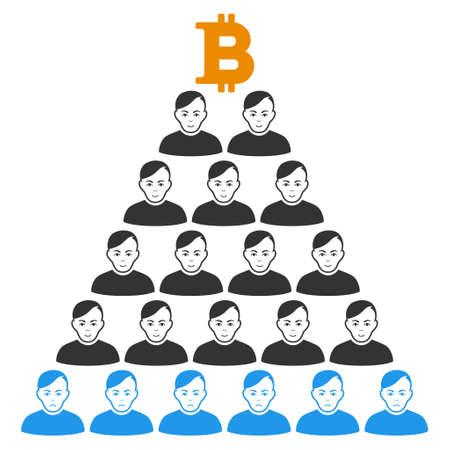 Bitcoin Ponzi Pyramid vector flat pictograph. Human face has happy sentiment. Faced bitcoin ponzi pyramid.