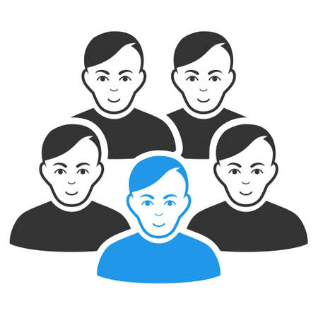 Men Collective vector flat pictograph. Person face has joy emotion. Faced men collective. Illustration