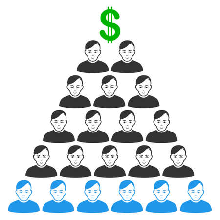 Ponzi Pyramid Scheme vector flat icon. Person face has joy feeling. Faced ponzi pyramid scheme. Illustration