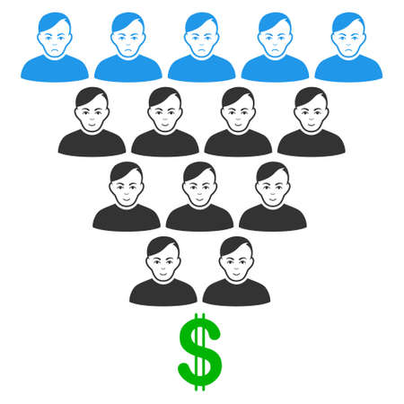 Ponzi Pyramid Scheme vector flat pictograph. Person face has joy mood. Faced ponzi pyramid scheme.