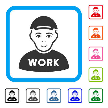 Gladness Jobless vector pictograph. Human face has smiling expression. Black, grey, green, blue, red, orange color variants of jobless symbol in a rounded rectangular frame. A boy in a cap.