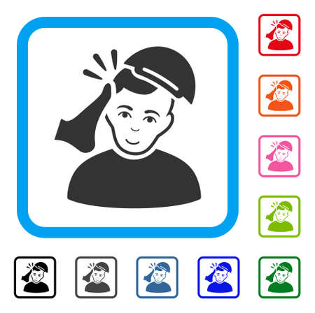 Joyful Kickboxer Victim vector pictograph. Person face has joy feeling. Black, grey, green, blue, red, pink color versions of kickboxer victim symbol in a rounded rectangular frame. A boy in a cap.