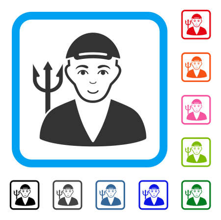Happy Satan vector pictogram. Human face has positive feeling. Black, grey, green, blue, red, orange color versions of satan symbol inside a rounded frame. A dude with a cap. Ilustração