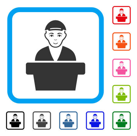 Enjoy Official Clerk vector icon. Person face has happiness emotion. Black, grey, green, blue, red, pink color variants of official clerk symbol inside a rounded squared frame. A guy with a cap. Illustration