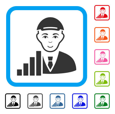 Positive Stock Trader vector pictogram. Person face has glad emotions. Black, gray, green, blue, red, orange color versions of stock trader symbol in a rounded rectangle. A dude with a cap.